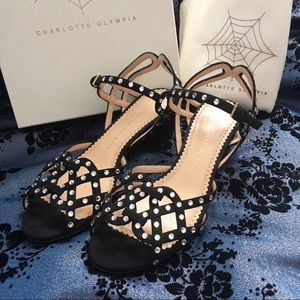 Charlotte Olympia Studded Sandals Black Sz 6